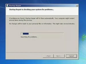 does startup repair delete files windows 7
