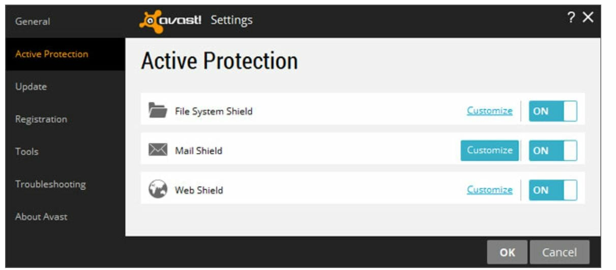 avast mail shield will not turn on